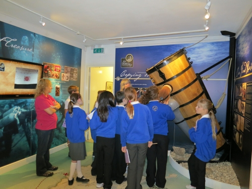School visit to the museum learning about John Lethbridge, the 18th century inventor & diver.
