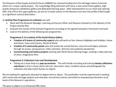 Activity Plan Programme Co ordinator at The Museum of Barnstaple and North Devon