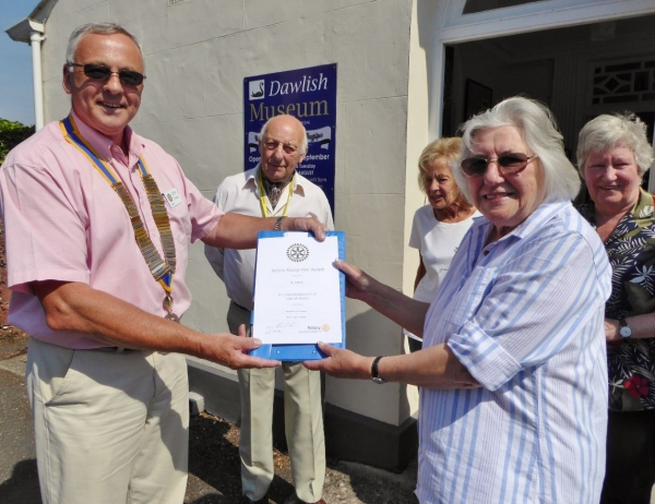 Rotary Club of Dawlish present cheque and award