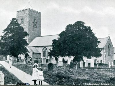Can anyone help date our new postcard of St Michael and All Angels Church, Bampton, Devon